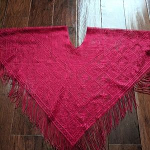 Vintage Ruby Red Lace Fringe Poncho